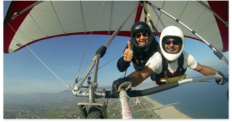Bart Weghorst and passenger enjoying a casual cruise in the North Wing Freedom 220 Tandem hang glider