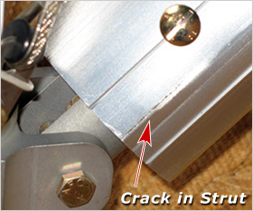 Crack in lower strut - sometimes caused by Wing Fold-Back option - please request new control bar hardware