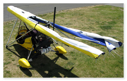The Mustang 3 Wing folds back while still mounted to the aircraft, convenient for travel and storage